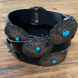 Vintage Sterling Silver - Turquoise Concho Belt
